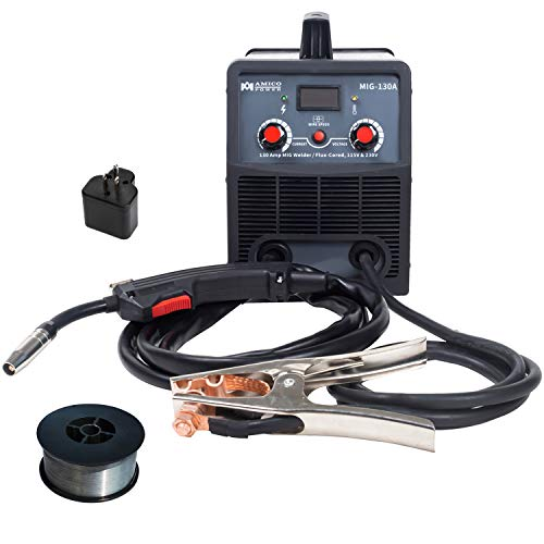 Amico MIG-130A, 130-Amp Flux Cored Wire Gasless Welder, 115/230V Dual Voltage, 80% Duty Cycle, Pro. Welding Machine.