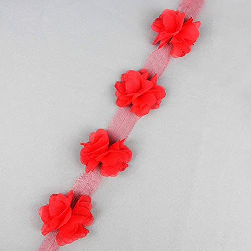 24 cabezas de encaje de flores de gasa de encaje Pom Pom cinta DIY costura niñas tutú vestido accesorios apliques de tela recorte - R01 rojo
