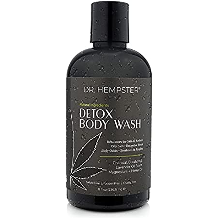 Charcoal Detox Body Wash with Hemp Oil - All Natural Bath and Shower Gel For Oily Skin - Treats and Prevents Acne Breakouts and Pimples - Eucalyptus, Coconut - Light Lavender Scent