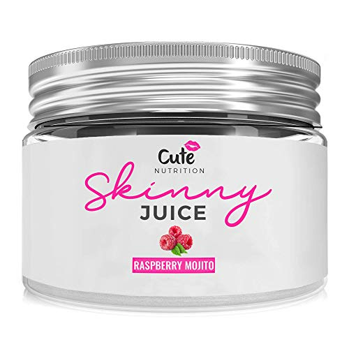 CUTE NUTRITION® Skinny Juice Fatburner Muskelaufbau Pulver Saft Vegan | 240g | Abnehmen + Sinetrol® | Himbeere Mojito | Diät Fettburner | GVO-frei