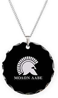 Molon Labe Necklace Charm Necklace with Round Pendant