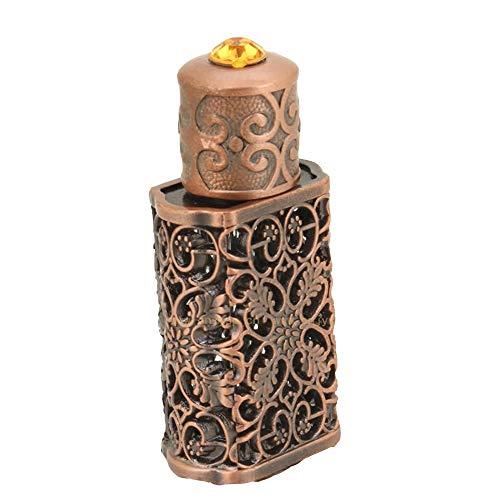 BaronHong 3ml or style antique La fleur creuse rétro incrustée de verre rouge récipient de parfum vide bouteille de parfum décoratif (bronze, M)
