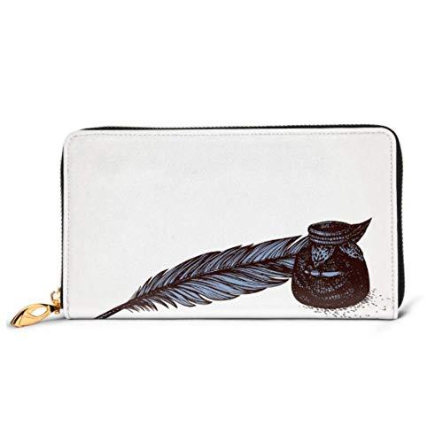JHGFG Mode Handtasche Reißverschluss Geldbörse Gans Feder Glas Tintenfass Glas noch Telefon Kupplung Geldbörse Abendkupplung Blockieren Leder Geldbörse Multi Card Organizer