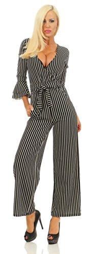 Fashion4Young 5671 Damen Jumpsuit Overall Einteiler Hosenanzug Wickeloptik Streifen Gestreift Party Clubwear Sommer (schwarz, 34-36)