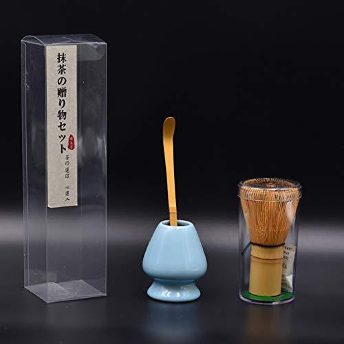 QIANGU Polvo de Matcha, Kit de Matcha japonés, licuadora Tradicional de bambú Matcha, Cuchara de té y Estante.-Mei Ziqing
