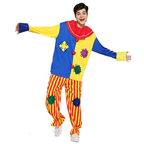 EraSpooky Adult Circus Clown Costume Colorful Suit Halloween Party Joker Role Play