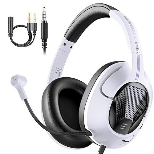 EKSA Gaming-Headsets mit Mikrofon, Air Joy Leichte Stereo-Surround-Sound-Kabel Über-Ohr-PC-Computer-Gaming-Kopfhörer für PS4 Xbox One Mac-Laptop-Smartphones (weiß)