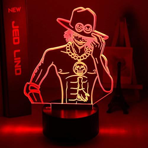 Anime 3d luz de noche LED lámpara de mesa Ace USB dormitorio lámpara decoración regalo de vacaciones