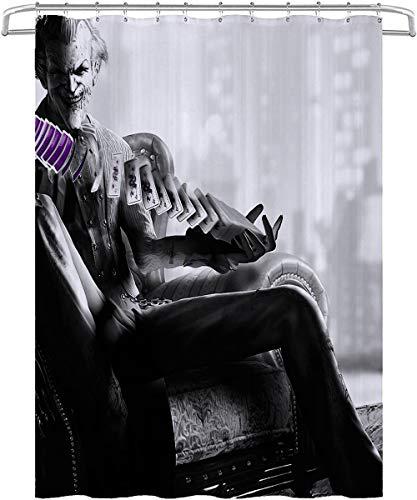 Visionpz Duschvorhang Batman Joker Anti-Mehltau Wasserdichter waschbarer gewichteter Saum, antibakterieller Duschvorhang aus Polyester, Badvorhang mit 12 Ringen 180x200cm