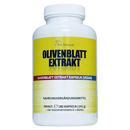 Olivenblatt Extrakt 650, 180 vegane Kapseln, hochdosiert mit 650 mg, Olivenblattextrakt mit 20% Oleuropein 130 mg, Laborgeprüft, starker natürlicher Antioxidant, Pro Natural