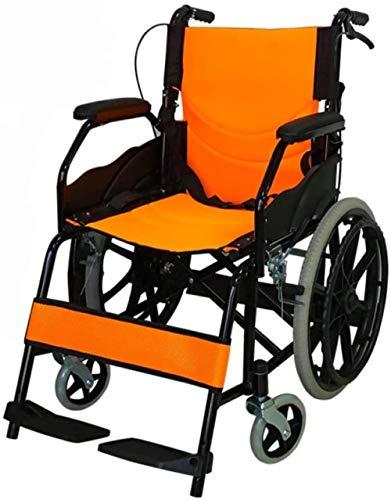 HZYDD Silla de Ruedas Plegable Portátil Pequeño Pequeño Pequeño Viejo Viejo con Aseo Manual Multifunción Trolley, Naranja, Naranja, Color Nombre: Naranja (Color : Orange)