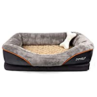 HIGH-QUALITY MATERIALS: ①Solid Memory Foam base for perfectly to your pet's body for maximum comfort ②Memory Foam using flame retardant material③The Bottom Material of the dog bed comes with built-in nonslip rubber backing and waterproof coating④Inne...