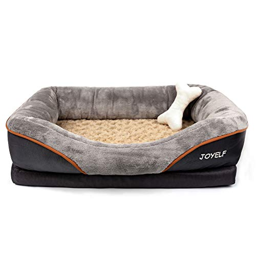 JOYELF Memory Foam Dog Bed Small Orthopedic Dog Bed & Sofa with Removable Washable Cover and Squeaker Toys as Gift
