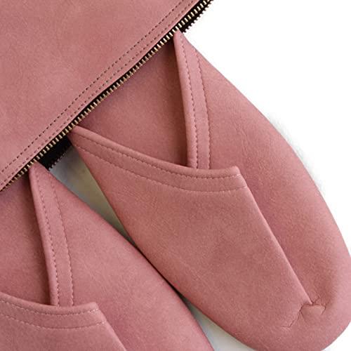 スリム 携帯 スリッパ マットタイプ【収納袋付き (M(24.5cm程度まで), ピンク)