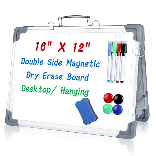 Uquelic Small Dry Erase White Board - Portable Magnetic Whiteboard Double Side Foldable Hanging Reminder Desktop Mini Drawing Easel with Eraser Markers Pen Hooks for Kis Teacher 16' x12'