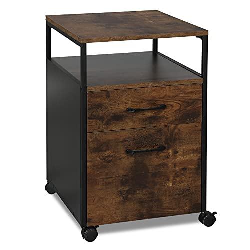 AMISEN 2 Drawer Rolling File Cabinet, Mobile Office Cabinet on Wheels, Printer Stand,Open Shelf,Under Desk Filing Cabinet for A4/Letter File, Hanging...