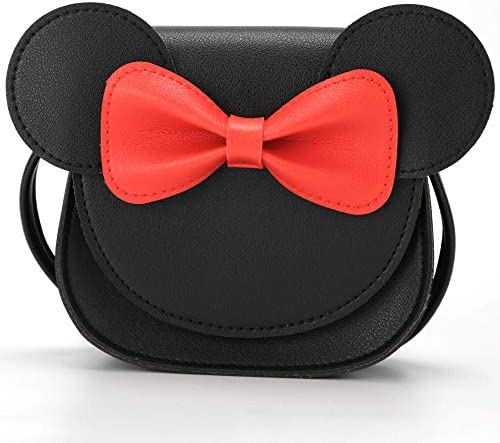 QiMing Little Mouse Ear Bow Crossbody Purse PU Shoulder Handbag for Kids Girls Toddlers Black1 product image