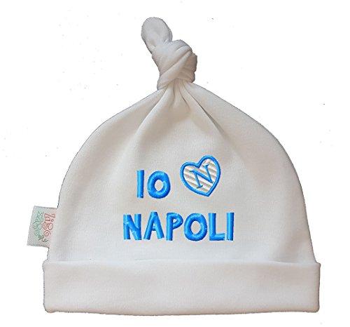 Zigozago Cappellino Cuffia Neonato Fatto a Mano in Cotone con Scritta Azzurra Io Amo Napoli Taglia 0-6 Mesi