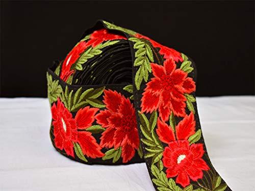 Venta al por mayor por 9 yardas rojo floral Sari Bordado Bordado Traje Coser Decorativo Bolsa de Playa Cojines Adornos Decorados Vestidos Cinta