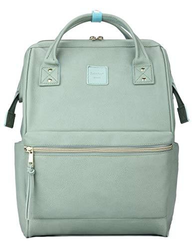 Kah&Kee Leder Rucksack Wickeltasche mit Laptopfach Travel School für Damen (Minzgrün, Groß)