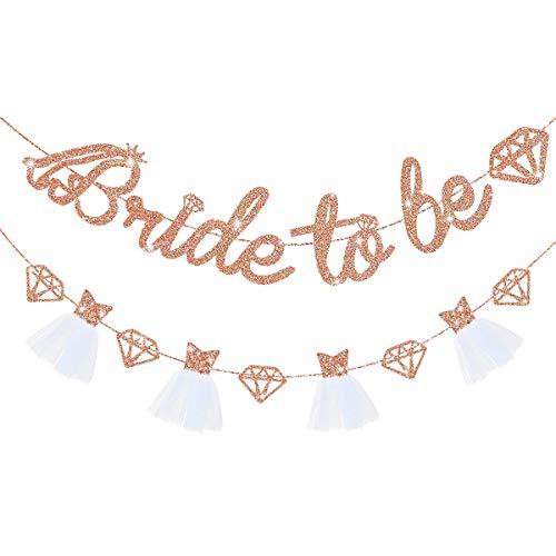 Pink Blume Bride to Be Flagge, Roségold, Diamantbanner, Brautkleid, 3D-Flagge, Girlande mit Diamanten für Junggesellinnenabschied, Party-Dekoration, Dekoration