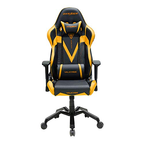 DXRacer OH/VB03/NA Black & Gold Valkyrie Series Gaming Chair Ergonomic High Backrest Office Computer Chair Esports Chair Swivel Tilt and Recline with Headrest and Lumbar Cushion + Warranty black chair gaming