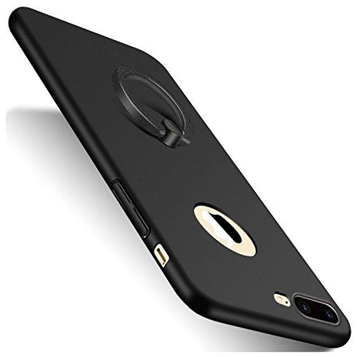AIsoar Custodia iPhone 7 Plus, iPhone 8 Plus Cover con Anello del Supporto Ultra Thin Cover Bumper Antipolvere Ultra Protettiva Anti-Scratch Hard PC Cover Coperture Bumper Cover (Nero, iPhone 8 Plus)