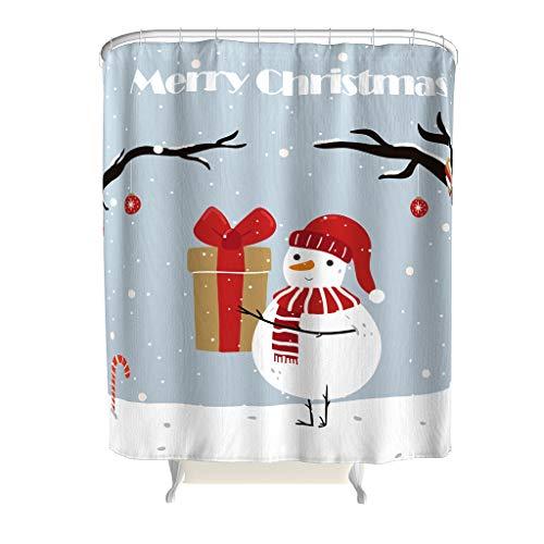 EUNNT Weihnachts-Schneemann-Duschvorhänge, Stoff, lustige Badewanne Dusche mit Haken, Polyester, weiß, 150x200cm