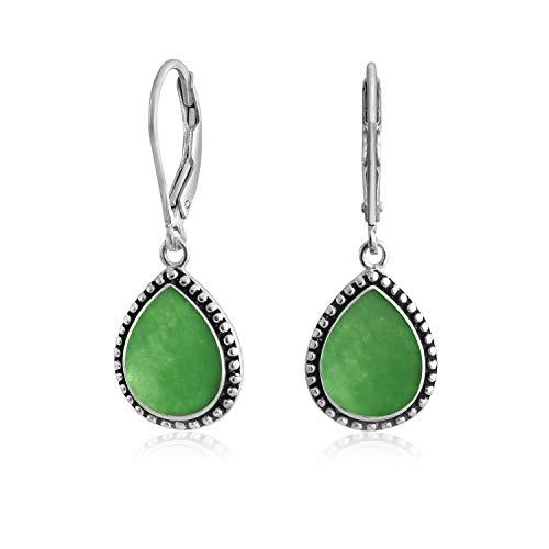 Boho Bali estilo verde teñido jade semi precioso pera en forma de lágrima palanca de oro colgante pendientes para las mujeres adolescentes oxidado 925 plata de ley