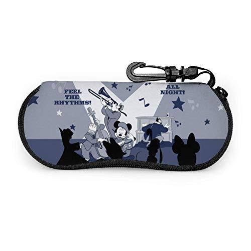 Mickey Minnie Estuche para gafas Gafas de sol Estuche para gafas Juego de protectores Portátil Cremallera de viaje Estuche para gafas de neopreno suave Estuche con clip para cinturón.