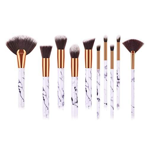 JFFFFWI Ensemble de brosses de Maquillage de 10 pièces, pinceaux de Kabuki en Poudre de Fond de Teint de qualité supérieure