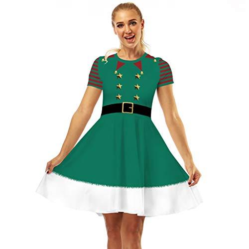 Auifor Muñeco de Nieve de Las Mujeres Rojo de la Navidad de los años 50 Notas Vestido de Fiesta de oscilación de Traje Retro de Manga Corta(B-Blanco/X-Large)