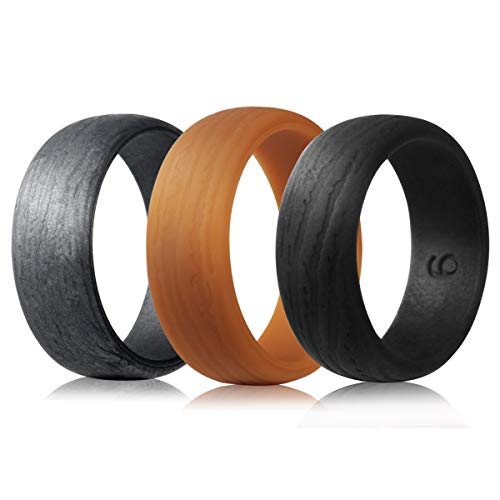 EMBNN Silicone Wedding Rings for Men Women, Skin-Safe Rubber Bands, Thin Colorfast Stackable Kit, Tree Pattern Design, Khaki, Iron Gray, Black, Size 9