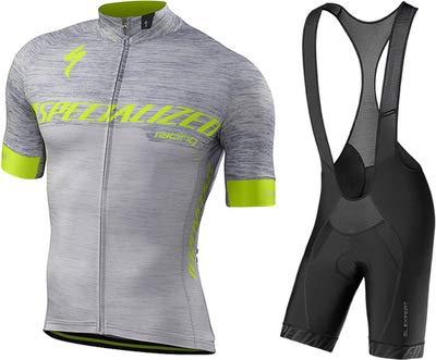 WOLFIRE WF Traje de Ciclismo para Hombre de Equipos. Culotte y Maillot. con 5D Gel Pad. para MTB, Spinning, Bicicleta de Carretera (S Gris, L)