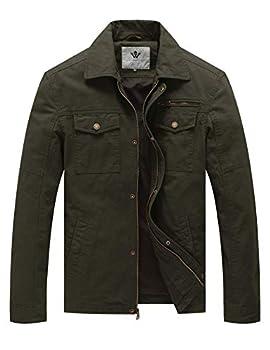 WenVen Men s Casual Tactical Barn Coat Jacket  Army Green,M