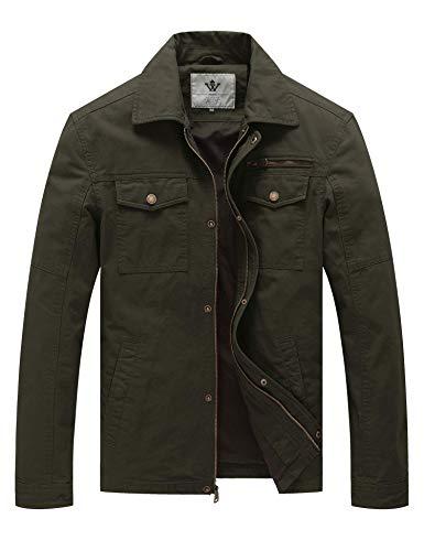 WenVen Men's Casual Tactical Barn Coat Jacket (Army Green,M)