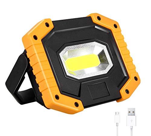 CSHBDLuz de Trabajo LED Recargable,Luz de Inundación Portátil 30W, 3 Modos, Foco LED Recargable para la Reparación de Automóviles, Camping, Luces de Seguridad de Emergencia,1pack