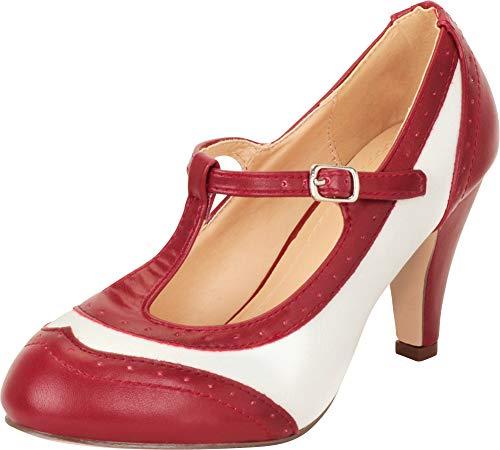 Cambridge Select Women's Retro Pinup T-Strap Wingtip Mary Jane Mid Heel Pump,6 B(M) US,Burgundy/White PU