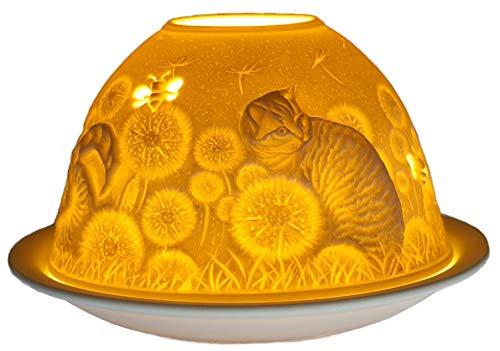 Him Gatti Di Casa Dome Light Katzen-Haus Windlicht, Keramik, Weiß, 11x 9cm, Bianco, 11x11x9 cm