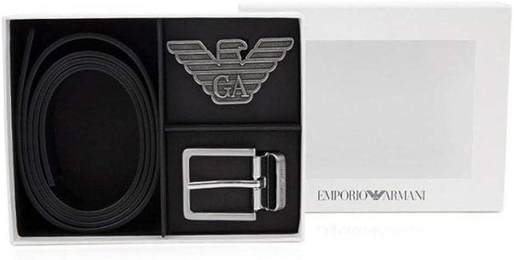 Emporio Armani 2 Buckles Belt Set Black Y4S270 YLP4X One Size Black