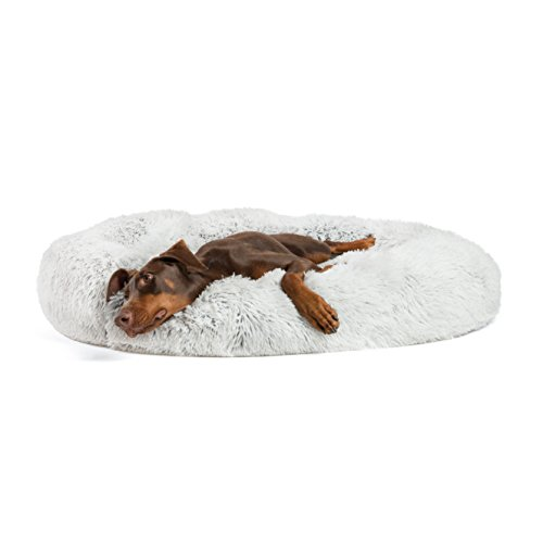 "Best Friends by Sheri Luxury Shag Fur Donut Cuddler 45"", Frost – Extra Large Round Donut Cat and Dog Cushion Bed, Orthopedic Relief, Self-Warming and Cozy for Improved Sleep - Prime, Machine Washable"