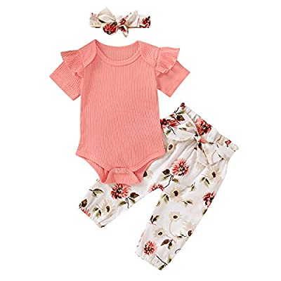 Newborn Baby Girl Clothes Infant Short Sleeve Solid Ribbed Bodysuits Romper Floral Long Pants Outfit Set by Gouldenhui