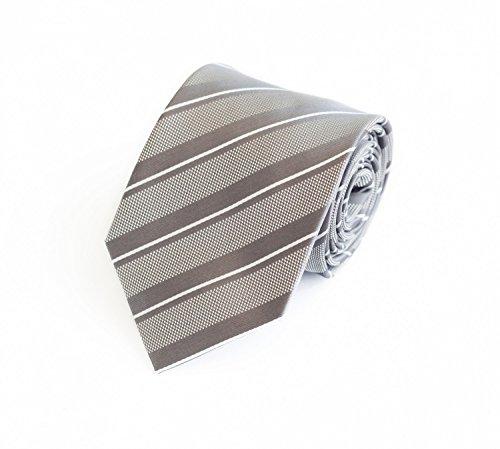 Fabio Farini - Elegante Herren Krawatte gestreift in 8cm Breite in verschiedenen Farben für jeden Anlass wie Hochzeit, Konfirmation, Abschlussball Silber Weiß kariert