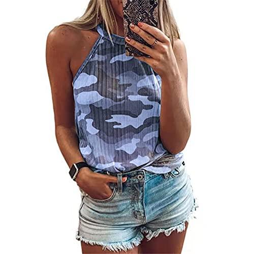 Blusa Mujer Tendencia Moda Verano Halter Diseño Mujer T-Shirt Chic Sexy Camuflaje Sin Mangas Diseño Diario Casual Ligero Cómodo Transpirable All-Match Camisola Mujer Tops C-Navy S