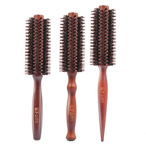Premewish - Spazzola per Capelli Rotonda con Setole di Cinghiale,spazzola tonda antistatica capelli in legno, diversi diametri,per capelli Lunghi e corti