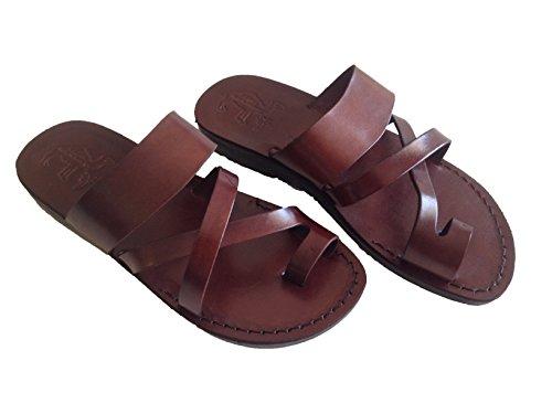 Unisex Biblische Sandalen aus echtem Leder, Flip-Flops, Jesus Jerusalem Schuhe – Bethlehem Stil, Braun (braun), 38.5 EU