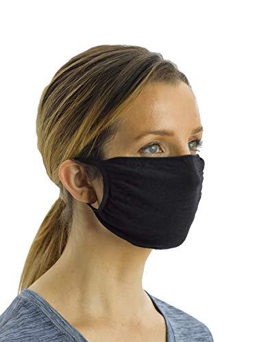 No Nonsense unisex adult Antimicrobial Reusable Ear Loop Face Mask (Pack of 5) Handkerchief, Black/Black/Navy/Navy/Grey, US