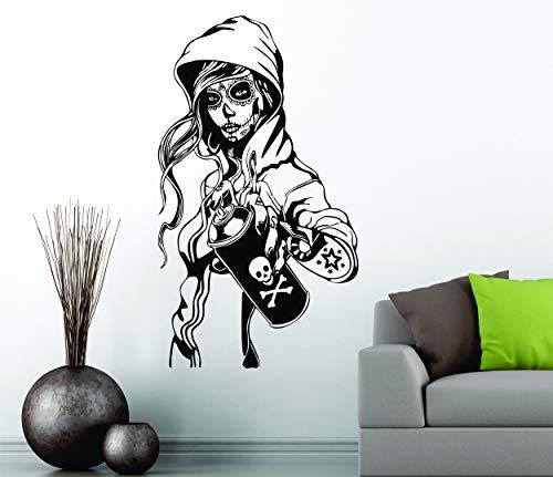 Azúcar CANDY fumar Tatuaje Calavera Adhesivos de pared Pegatina vinilo mural
