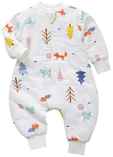 *Chilsuessy Schlafsack Baby Winter Schlafsack mit füßen in 2.5 Tog mit abnehmbaren Ärmeln Kinder Schlafsack mit Beinen Junge Mädchen unisex ganzjahres Schlafanzug, Wald, 110/Baby Höhe 95-105cm*
