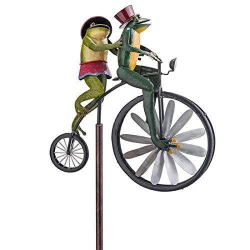 Ranas en una Bicicleta Vintage Metal jardín Viento Spinner, Poste de pie jardín jardín césped decoración Metal Viento Spinner